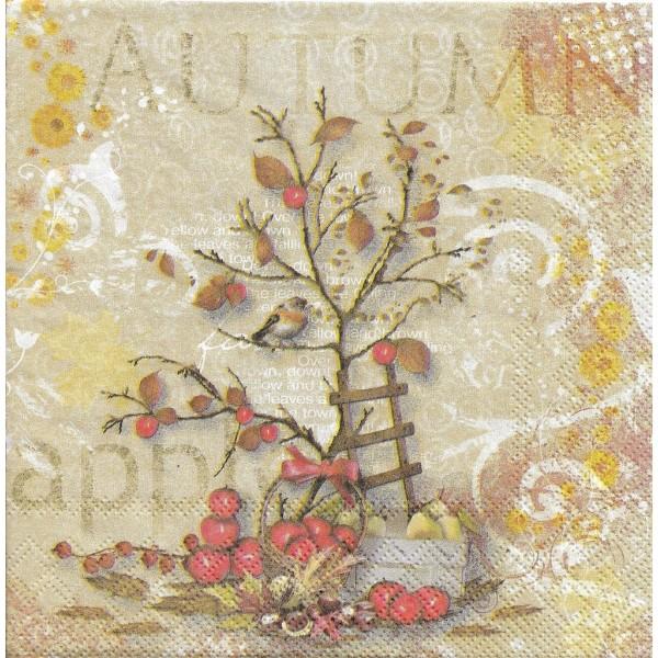 4 Serviettes en papier Automne Pommes Oiseau Format Lunch Decoupage Decopatch 13312400 Ambiente - Photo n°1