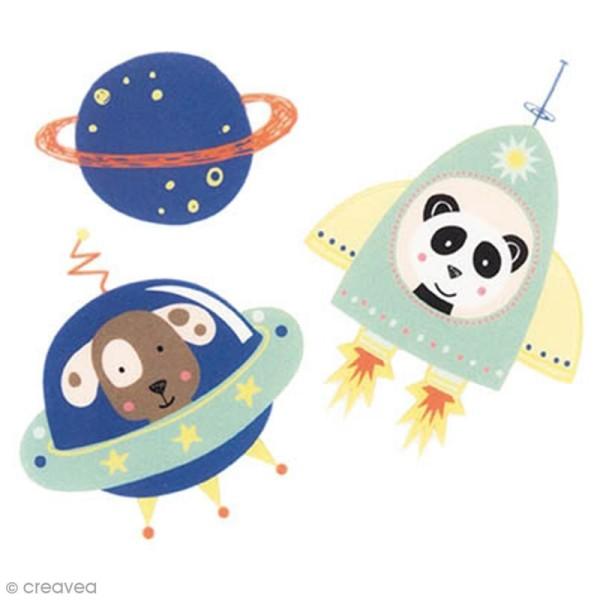 Ecussons thermocollants Petits astronautes bleus - De 3 à 5 cm - 3 pcs - Photo n°1