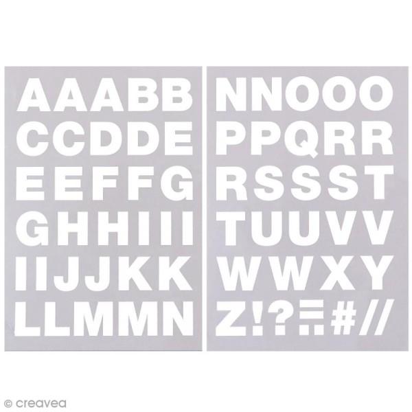 Ecussons thermocollants Alphabet blanc - 2,5 cm de hauteur - 65 pcs - Photo n°1