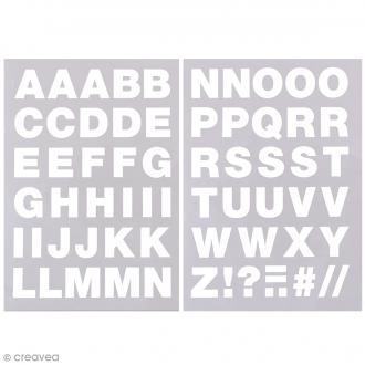 Ecussons thermocollants Alphabet blanc - 2,5 cm de hauteur - 65 pcs