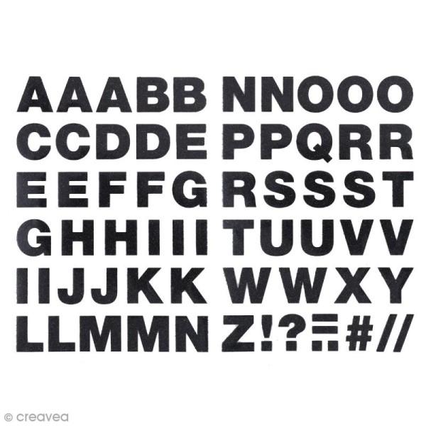 Ecussons thermocollants Alphabet noir pailleté - 2,5 cm de hauteur - 65 pcs - Photo n°1