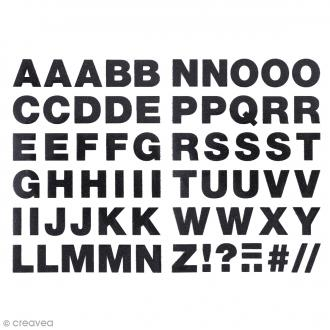 Ecussons thermocollants Alphabet noir pailleté - 2,5 cm de hauteur - 65 pcs