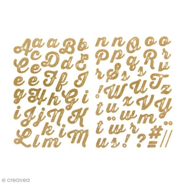 Ecussons thermocollants Alphabet jaune doré pailleté - De 1,5 à 4 cm de hauteur - 65 pcs - Photo n°1