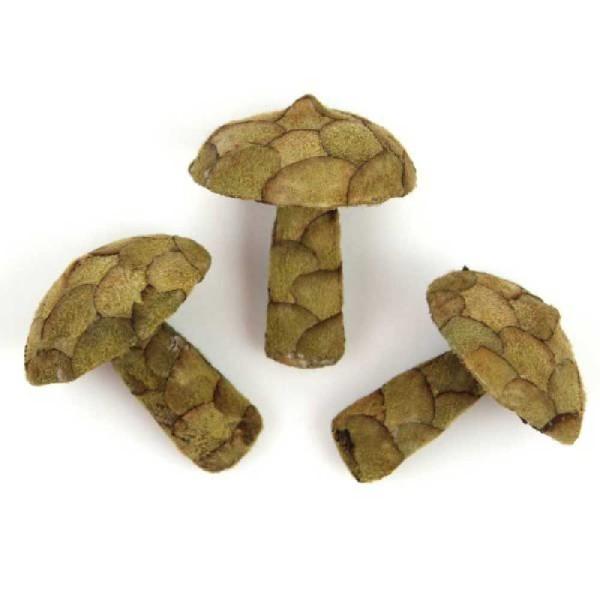 Champignons décoratifs fabriqués en pana - Lot de 3 - Photo n°1