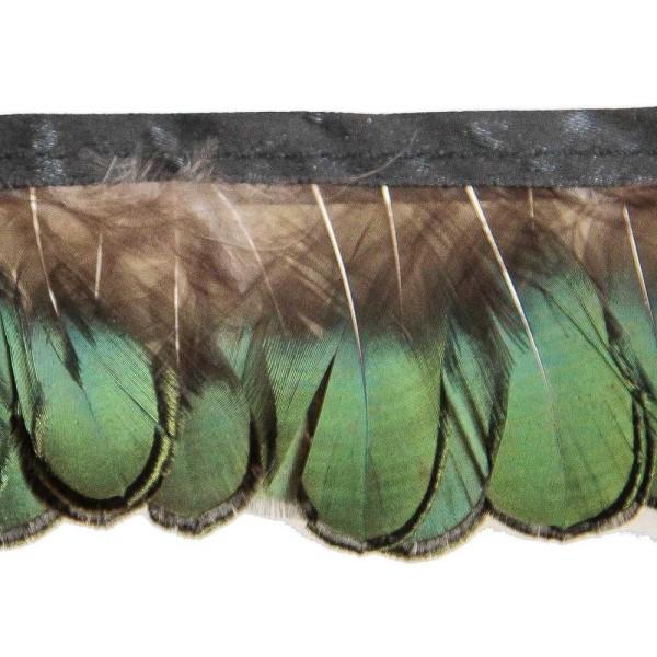 Plumes de faisan Lady Amherst amande bronze - Frange 20 cm - Photo n°1