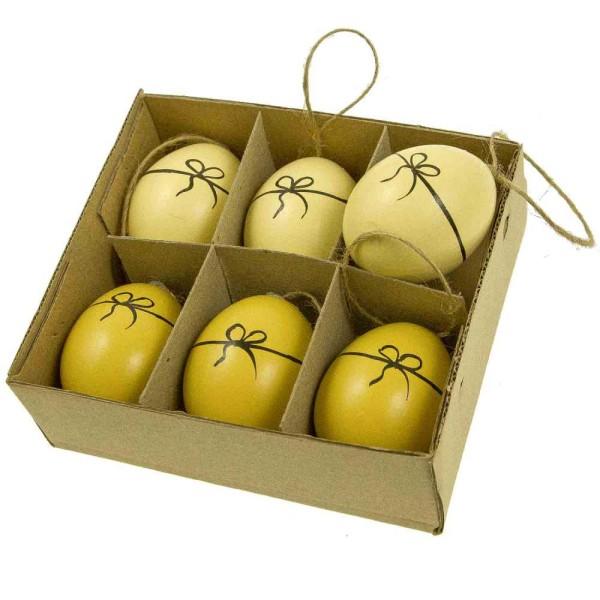 Boite de 6 oeufs de poule décoratifs avec noeud peint à suspendre - Photo n°1