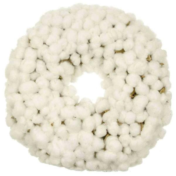 Couronne de porte en fleurs de coton. - Photo n°1