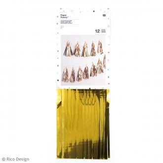 Kit guirlande pompons glands - Doré - 33 cm - 12 pcs