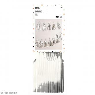 Kit guirlande pompons glands - Argenté - 33 cm - 12 pcs