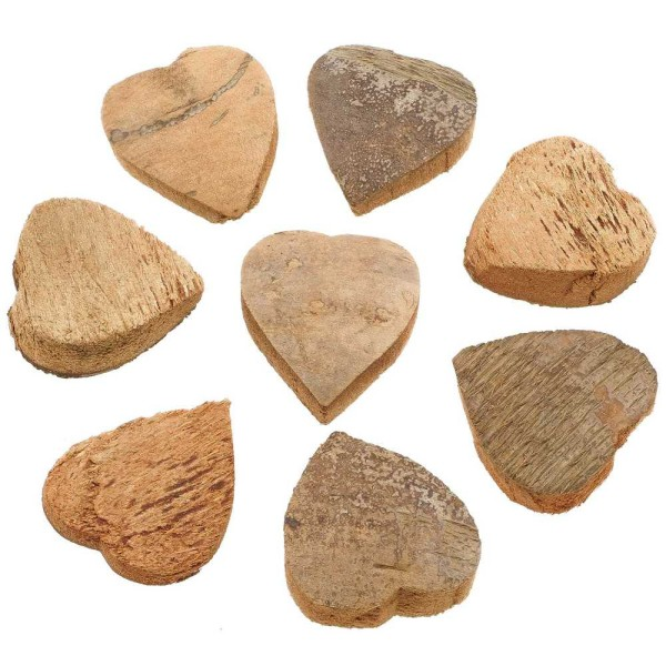 Coeurs découpés dans une noix de coco - Lot de 10. - Photo n°2