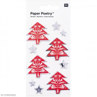 Sticker 3D Noël - Sapins et étoiles - 10 pcs