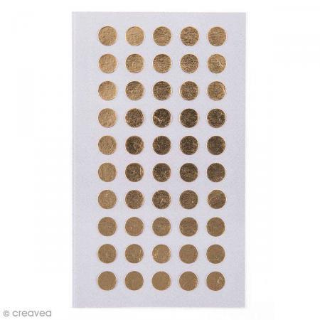 Stickers Pois dorés 8 mm - 200 pcs - Photo n°1