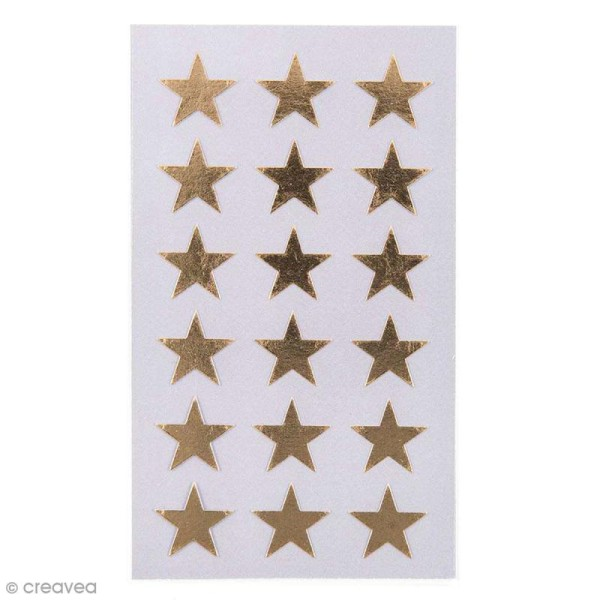 Stickers Etoiles dorées 18 mm - 72 pcs - Photo n°1