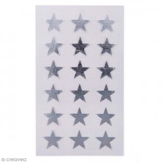 Stickers Etoiles argentés 18 mm - 72 pcs