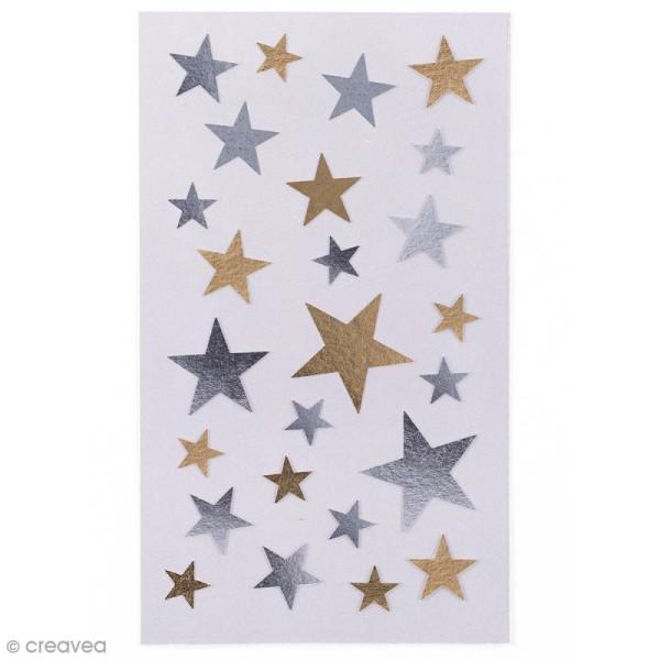 Stickers Etoiles dorées et argentées De 9 à 23 mm - 100 pcs - Photo n°1