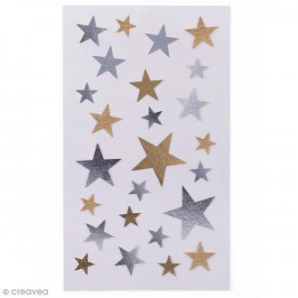 Stickers Etoiles dorées et argentées De 9 à 23 mm - 100 pcs