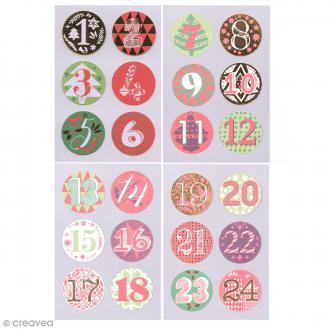 Stickers Calendrier de l'avent Rouge et Vert 28 mm - 24 pcs