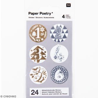 Stickers Calendrier de l'avent 3 cm - Doré & Argenté - 24 pcs