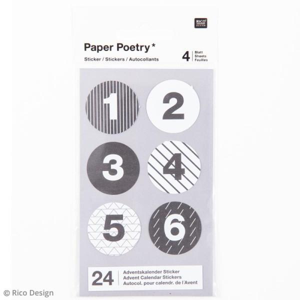 Stickers Calendrier de l'avent Noir et Blanc 28 mm - 24 pcs - Photo n°3