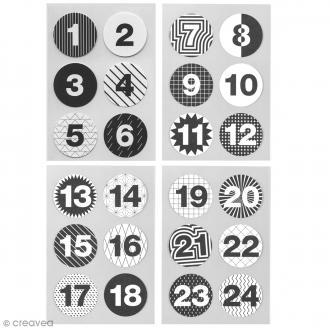 Stickers Calendrier de l'avent Noir et Blanc 28 mm - 24 pcs