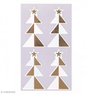 Stickers Sapins Pastel et doré 32 x 57 mm - 24 pcs