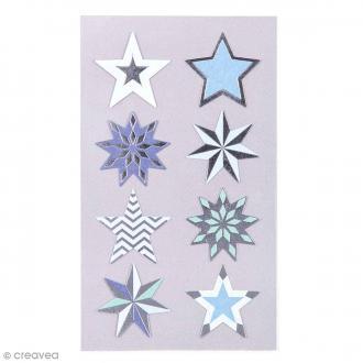 Stickers Etoiles bleues et argentées 28 mm - 32 pcs