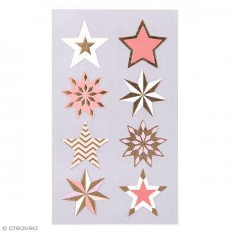 Stickers Etoiles rouges et dorées 28 mm - 32 pcs