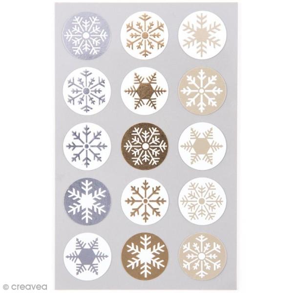 Stickers Cristaux de glace dorés et argentés 25 mm - 60 pcs - Photo n°1