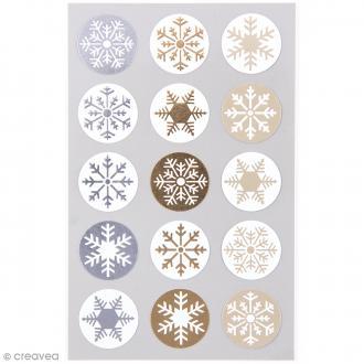 Stickers Cristaux de glace dorés et argentés 25 mm - 60 pcs