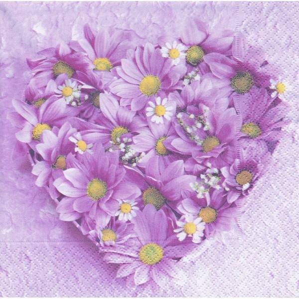 4 Serviettes en papier Coeur de Marguerites Amour Format Lunch Decoupage 21401 Paper+Design - Photo n°1