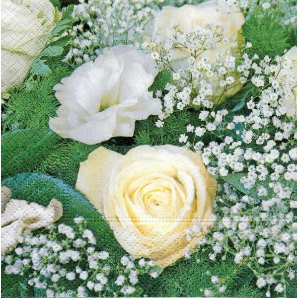 4 Serviettes en papier Bouquet de Mariage Format Lunch Decoupage LN0489 Colourful Life - Photo n°1