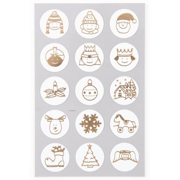 Stickers Symboles de Noël dorés 25 mm - 60 pcs - Photo n°1