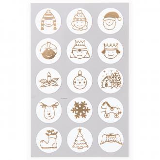 Stickers Symboles de Noël dorés 25 mm - 60 pcs