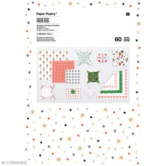 Papier origami Puristic Christmas - 3 tailles - 60 feuilles
