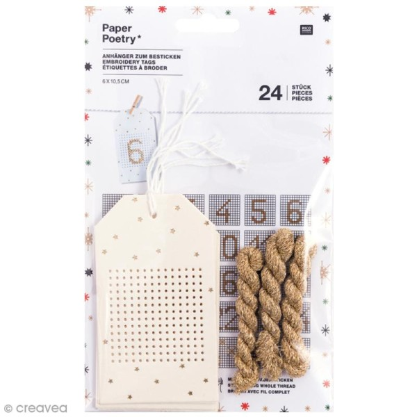 Etiquettes calendrier de l'Avent à broder - 6 x 10,5 cm - 24 pcs - Photo n°1