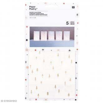 Sachet en papier 19 x 11 cm pour photophoore - Flèches dorées - 5 pcs