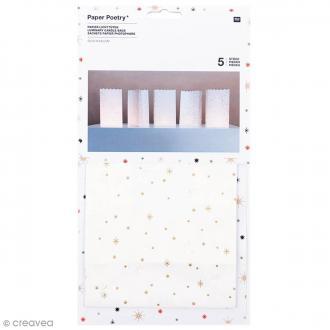 Sachet en papier 24,5 x 14 cm pour photophoore - Flocons dorés - 5 pcs