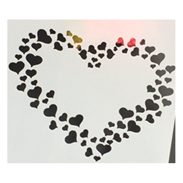 POCHOIR PLASTIQUE 13*13cm : Coeurs en coeur - Photo n°1