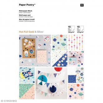 Bloc papier scrap à motif - Astronautes - 21 x 29,7 cm - 31 pcs