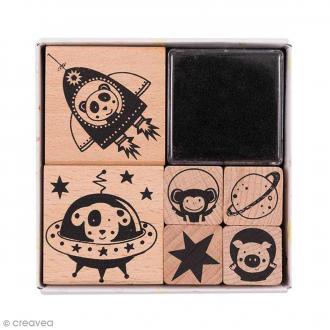 Set tampons Astronaute - 6 tampons et 1 encreur