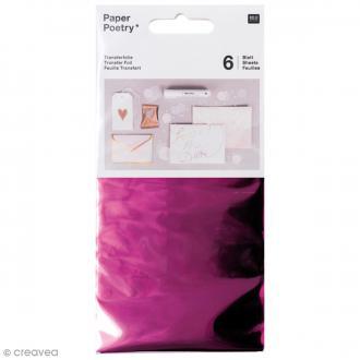 Feuilles transfert 9 x 15 cm - Rose fuchsia - 6 pcs