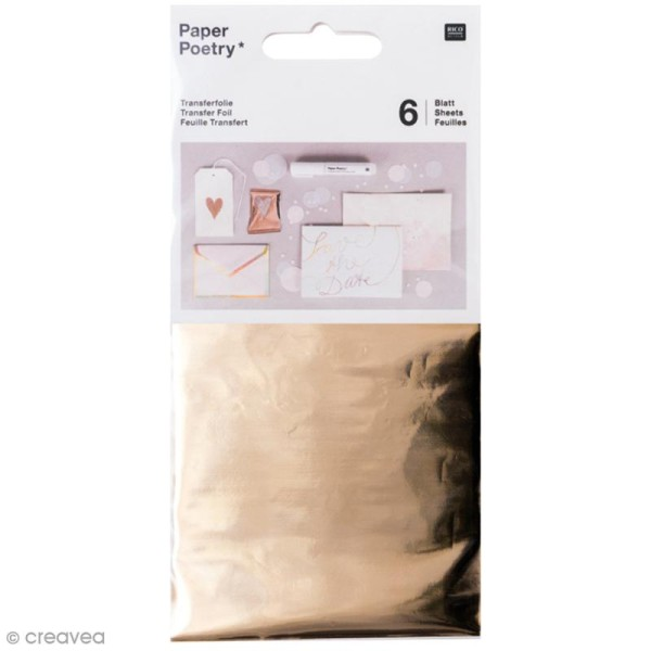 Feuilles transfert 9 x 15 cm - Jaune doré - 6 pcs - Photo n°1