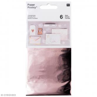 Feuilles transfert 9 x 15 cm - Doré rose - 6 pcs