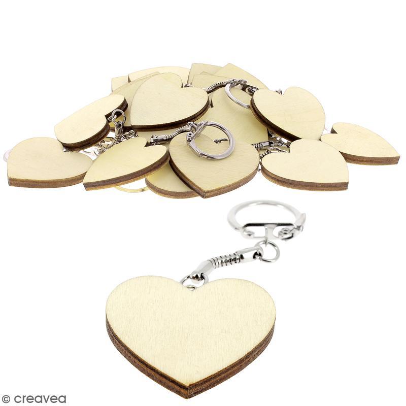 Portes Clés Coeur en bois à décorer - 50 pcs - Photo n°1