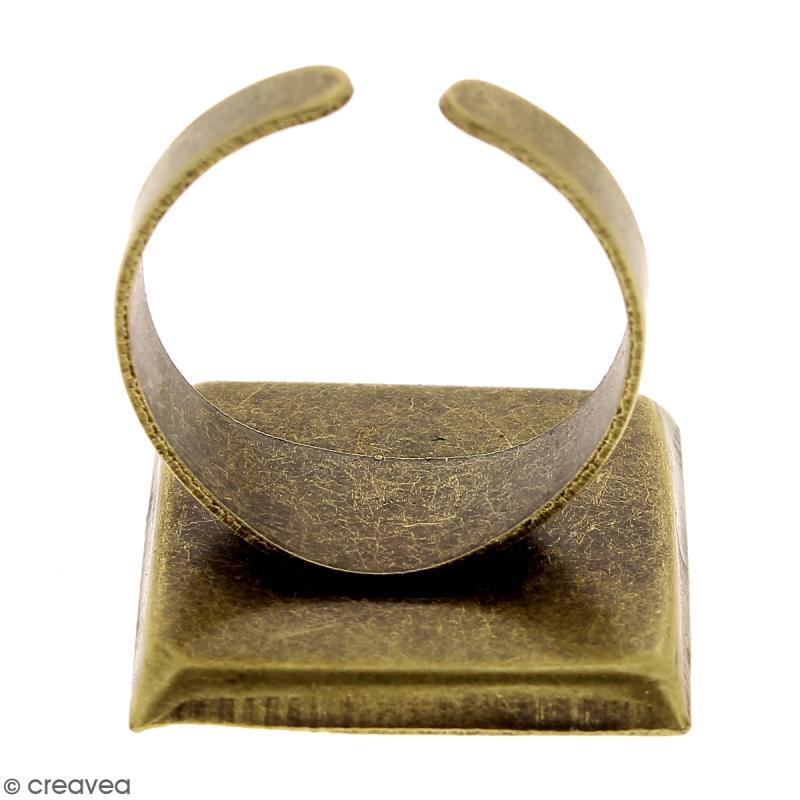 Bague plateau - Carré - Bronze - 20 x 20 mm - 1 pce - Photo n°4