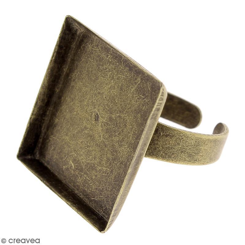 Bague plateau - Carré - Bronze - 20 x 20 mm - 1 pce - Photo n°1