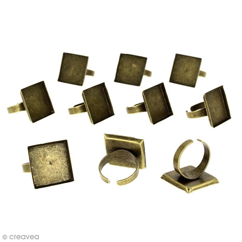 Bague plateau rebord - Carré - Bronze - 20 x 20 mm - 10 pcs - Photo n°1