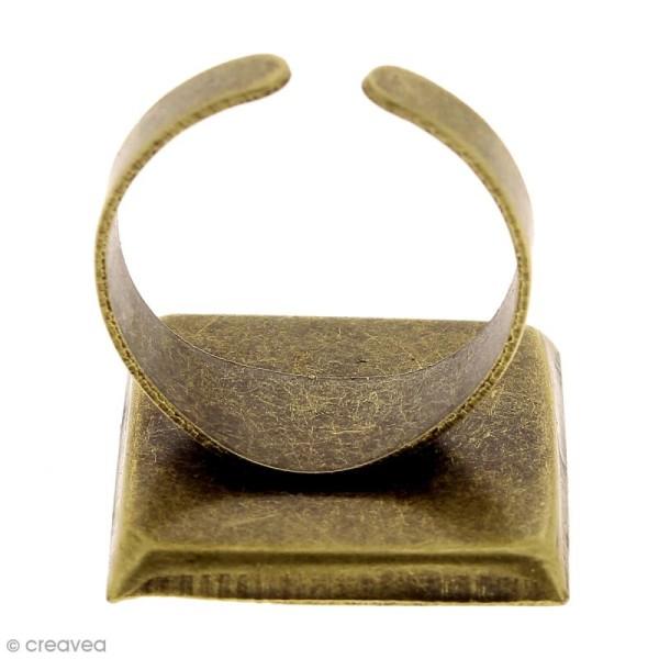 Bague plateau rebord - Carré - Bronze - 20 x 20 mm - 10 pcs - Photo n°5