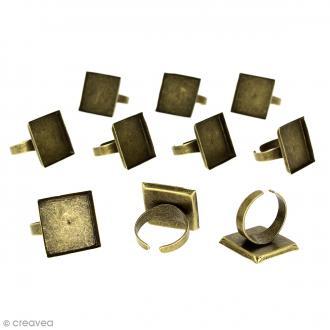 Bague plateau rebord - Carré - Bronze - 20 x 20 mm - 10 pcs