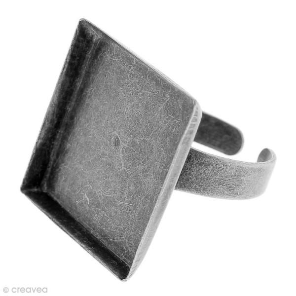 Bague plateau rebord - Carré - Argenté vieilli - 20 x 20 mm - Avec packaging - 1 pce - Photo n°1